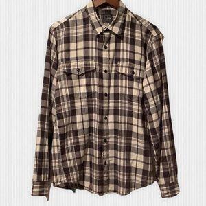 J. Crew Grey Plaid Cotton Flannel Shirt Slim M